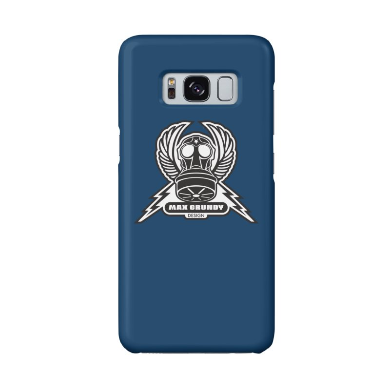 GAS MASK CREST cell phone case (navy) Accessories Phone Case by Max Grundy Design's Artist Shop