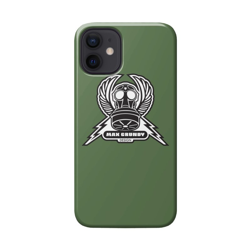 GAS MASK CREST cell phone case (army green) Accessories Phone Case by Max Grundy Design's Artist Shop