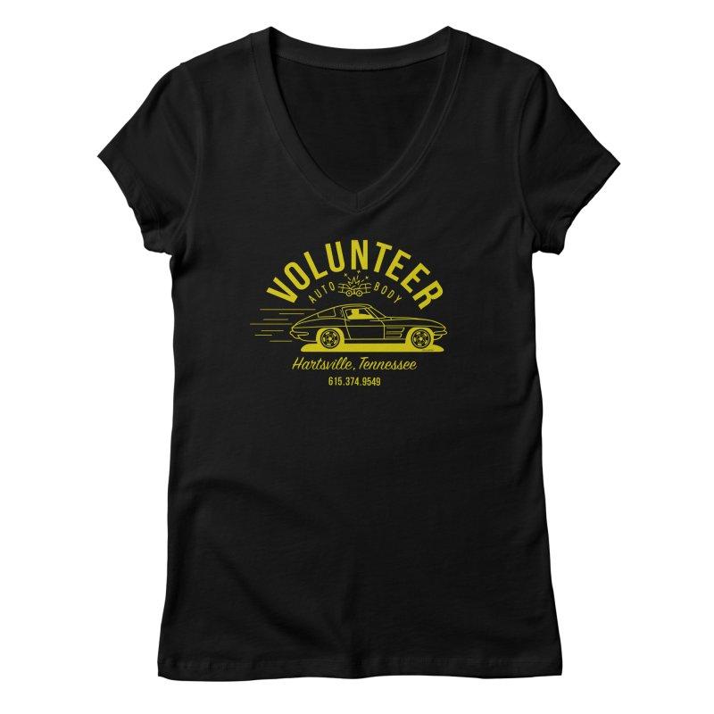 VOLUNTEER AUTO BODY t-shirt (men, women, kids) Women's V-Neck by Max Grundy Design's Artist Shop