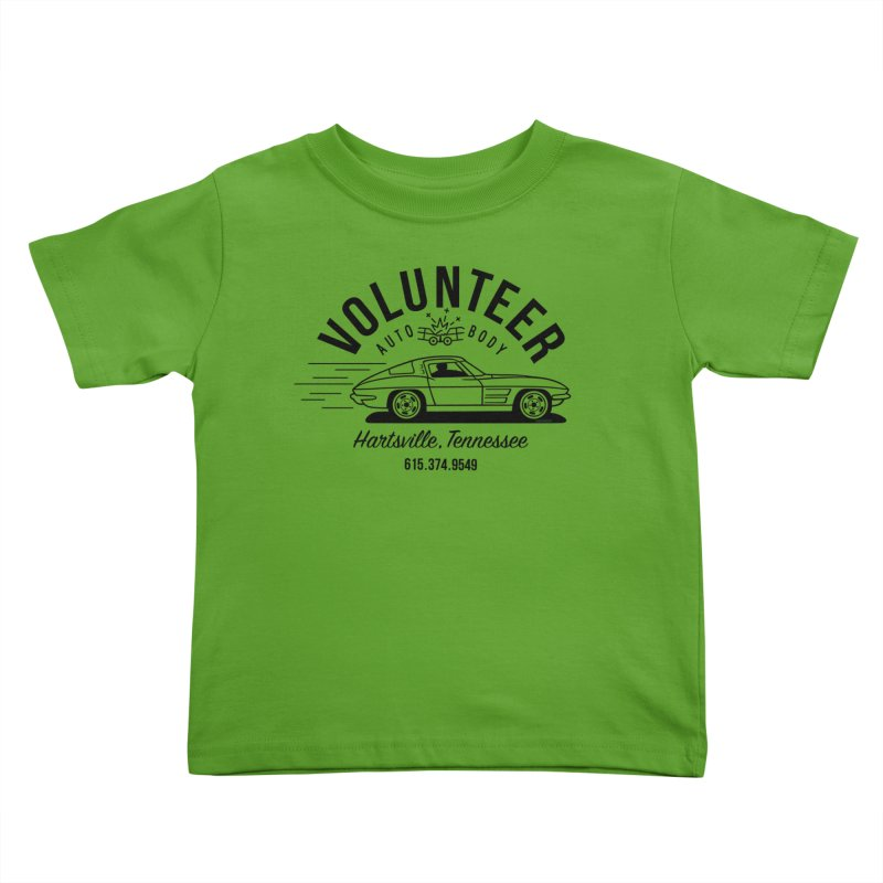 VOLUNTEER AUTO BODY black text for light shirts (men, women, kids) Kids Toddler T-Shirt by Max Grundy Design's Artist Shop