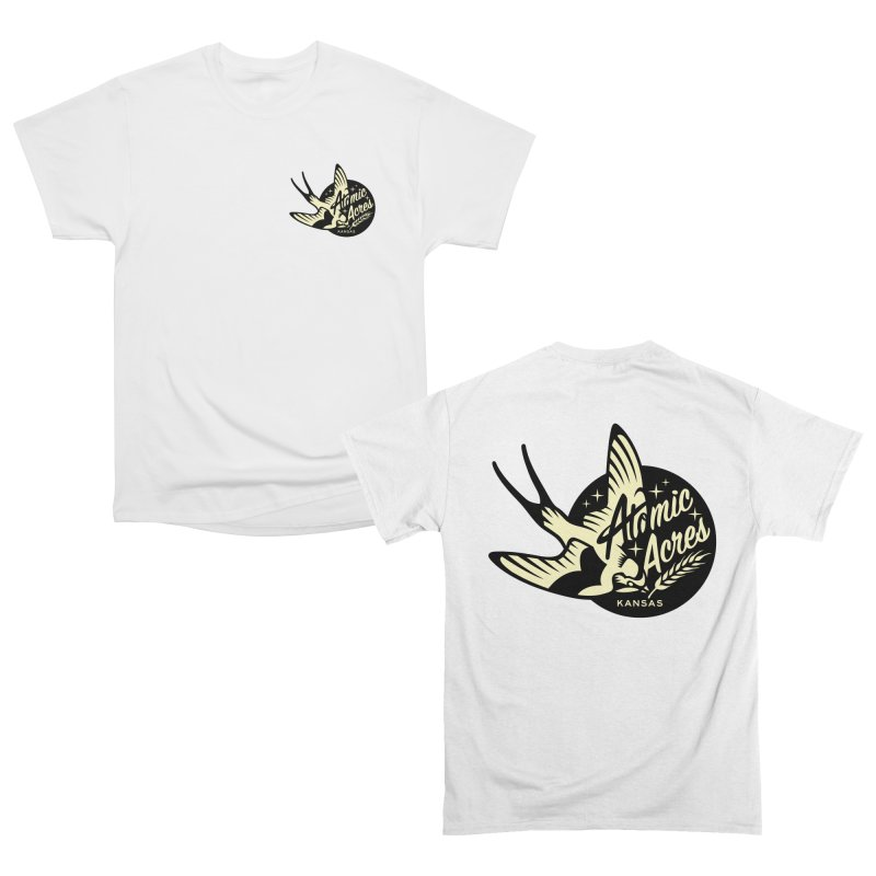 ATOMIC ACRES KANSAS back design with front pocket logo Women's T-Shirt by Max Grundy Design's Artist Shop