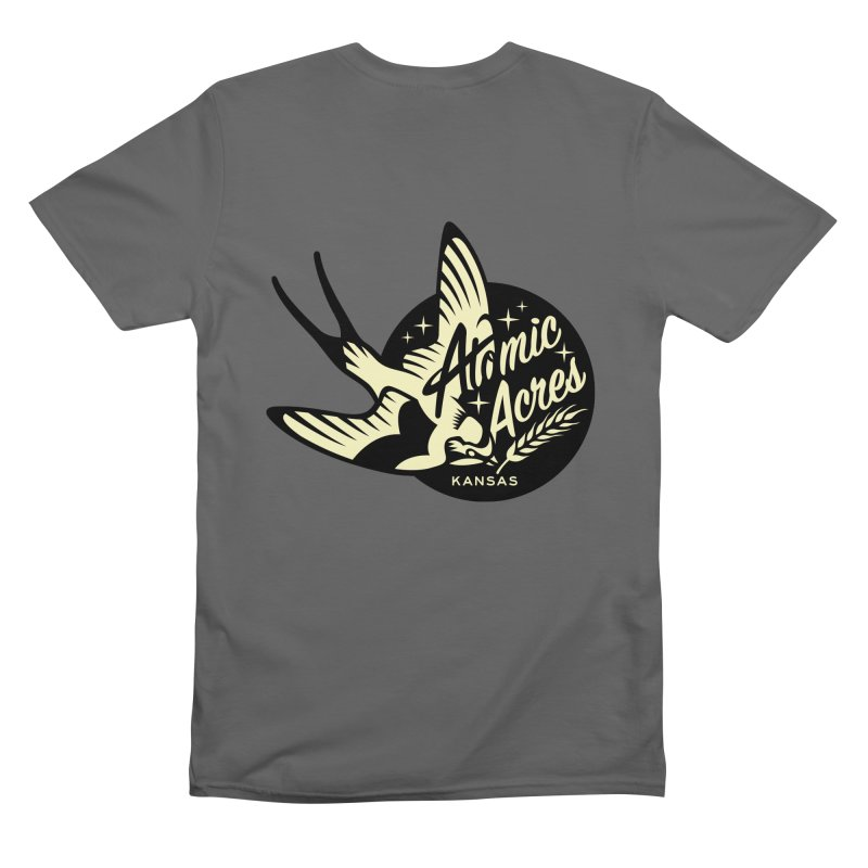 ATOMIC ACRES KANSAS back design with front pocket logo Men's T-Shirt by Max Grundy Design's Artist Shop