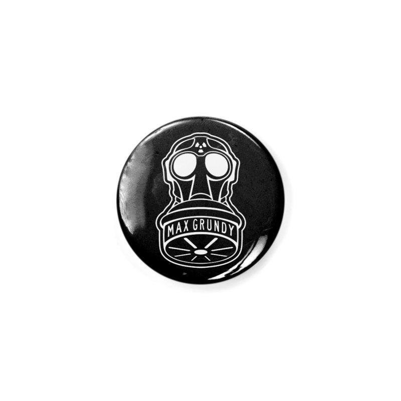 Gas Mask (white) Accessories Button by Max Grundy Design's Artist Shop