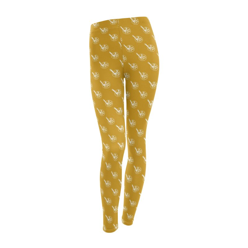 ATOMIC ACRES CREAM ON MUSTARD PATTERN Women's Leggings Bottoms by Max Grundy Design's Artist Shop