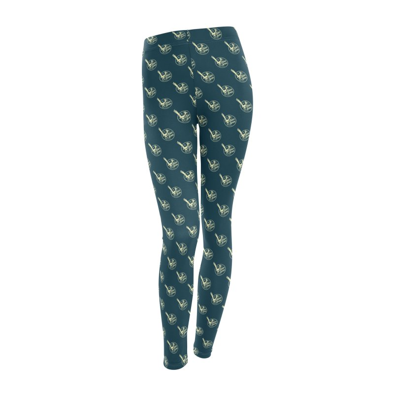 ATOMIC ACRES CREAM ON NAVY PATTERN Women's Leggings Bottoms by Max Grundy Design's Artist Shop