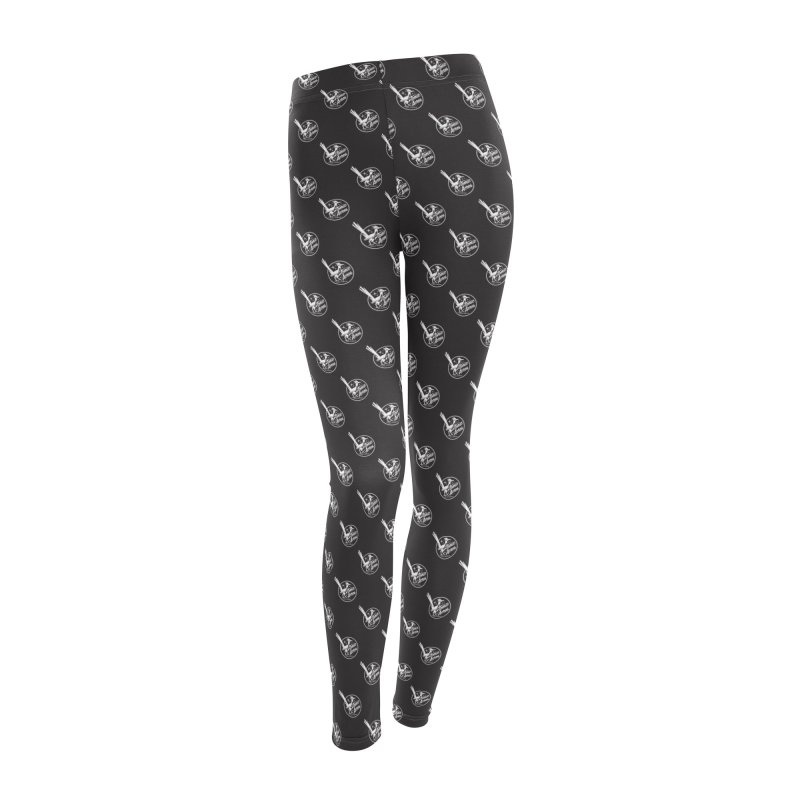 ATOMIC ACRES CREAM ON BLACK PATTERN Women's Leggings Bottoms by Max Grundy Design's Artist Shop
