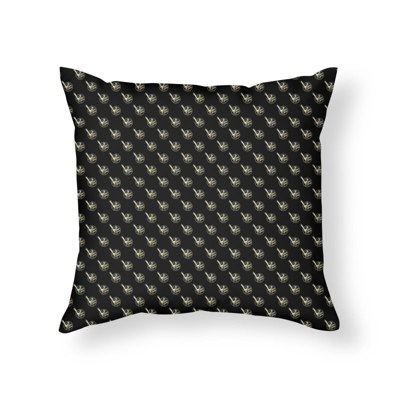 ATOMIC ACRES CREAM ON BLACK PATTERN Home Throw Pillow by Max Grundy Design's Artist Shop