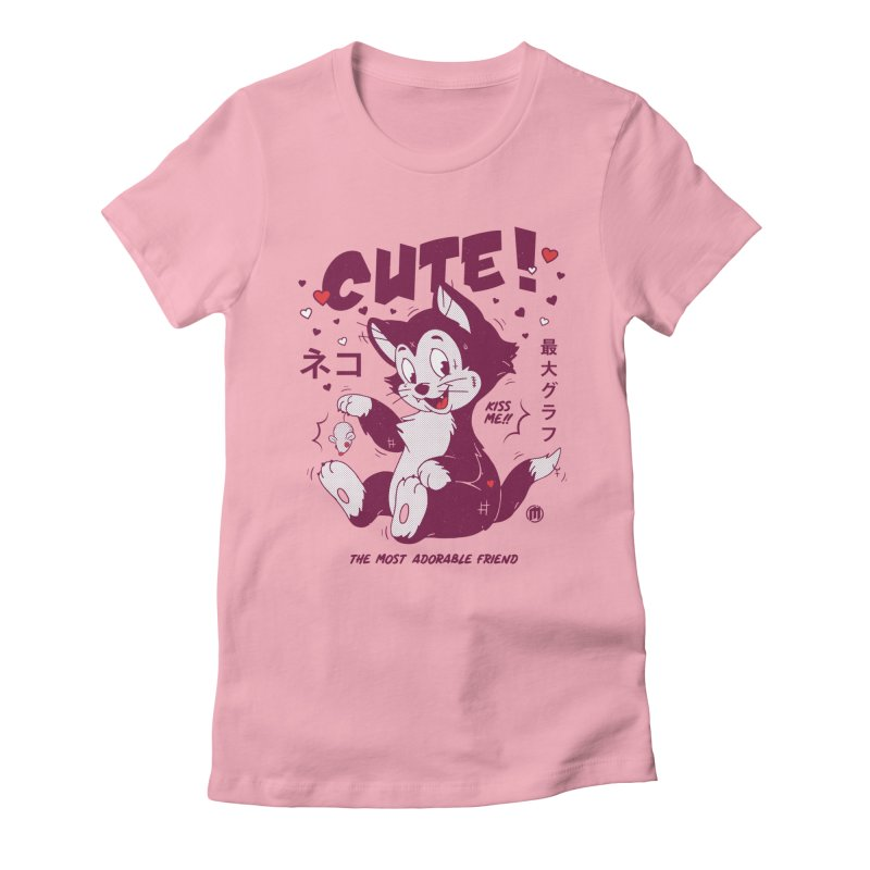 Cute Cat in Women's Fitted T-Shirt Light Pink by MAXIMOGRAFICO — collection