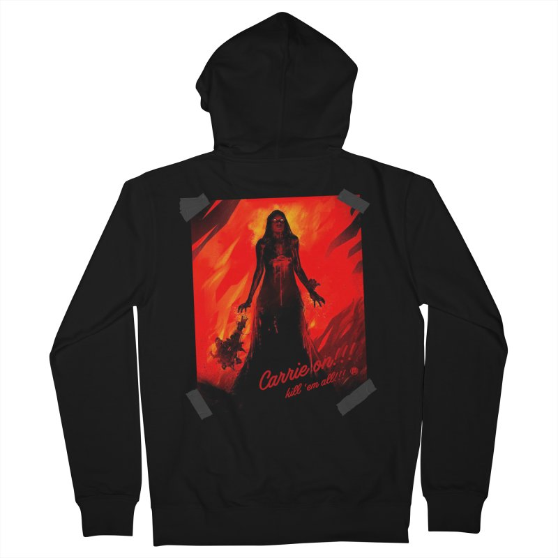 Carrie on!!! in Men's French Terry Zip-Up Hoody Black by MAXIMOGRAFICO — collection