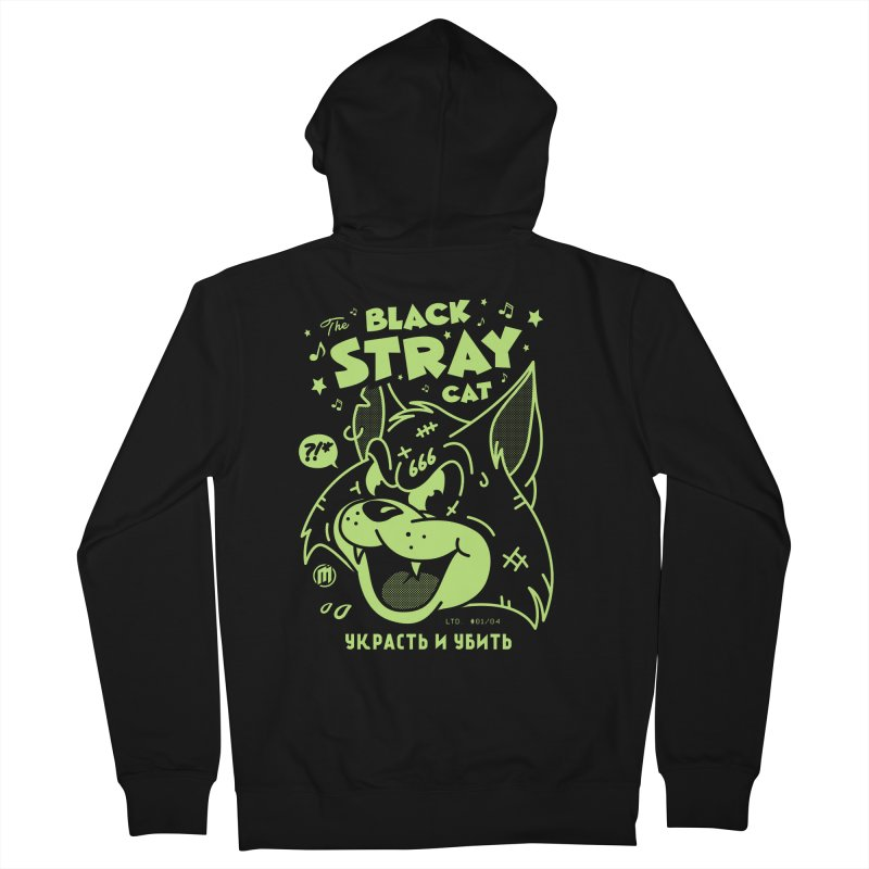 The Black Stray Cat Men's French Terry Zip-Up Hoody by MXM — ltd. collection