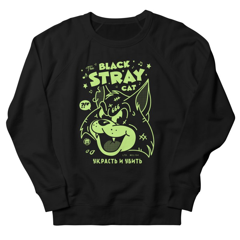The Black Stray Cat Women's French Terry Sweatshirt by MXM — ltd. collection