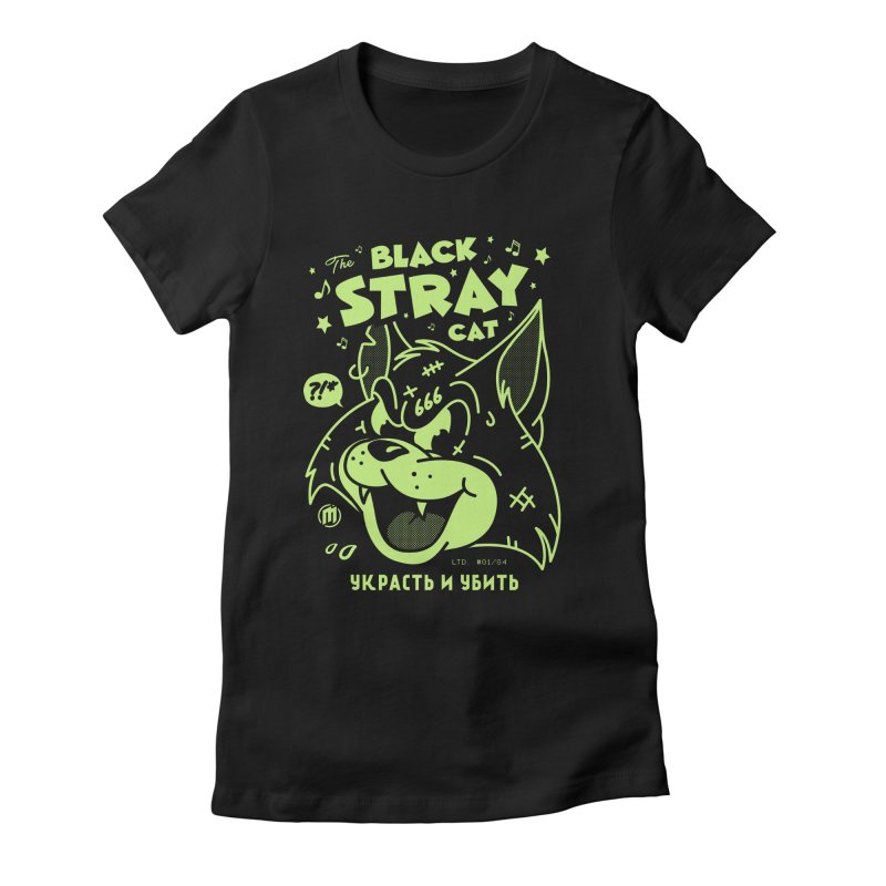 The Black Stray Cat Women's Fitted T-Shirt by MXM — ltd. collection