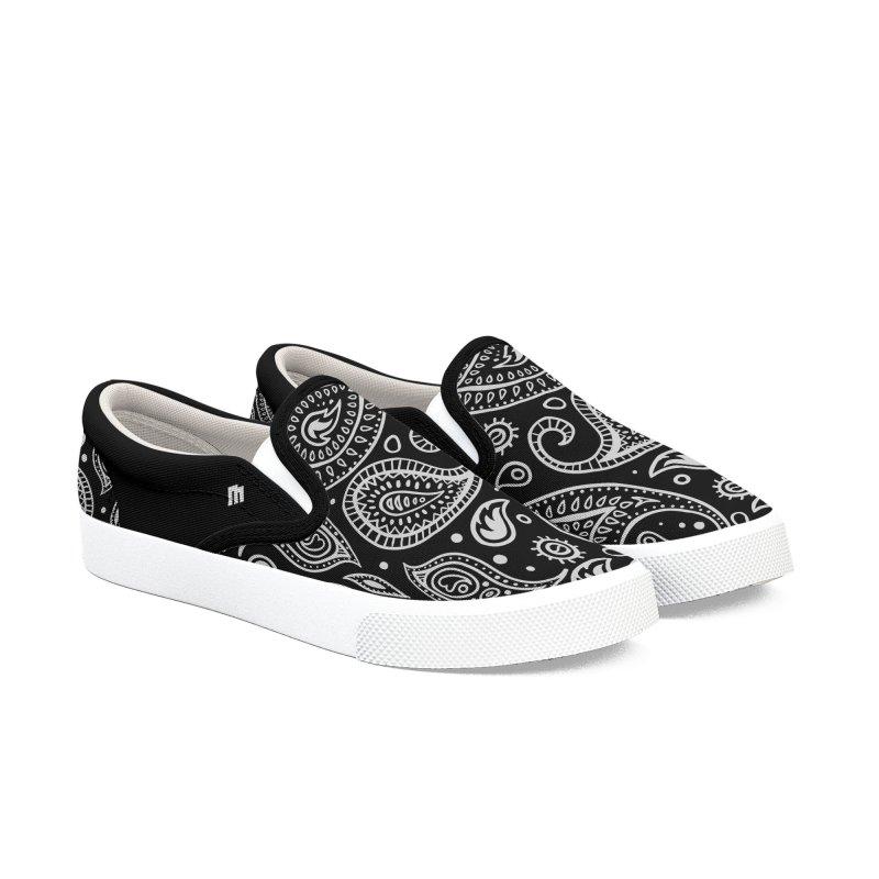 Black Bandana Shoes Men's Slip-On Shoes by MAXIMOGRAFICO — shop