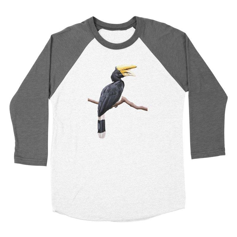 Rhinoceros Hornbill Men's Baseball Triblend Longsleeve T-Shirt by May Jernigan's Artist Shop