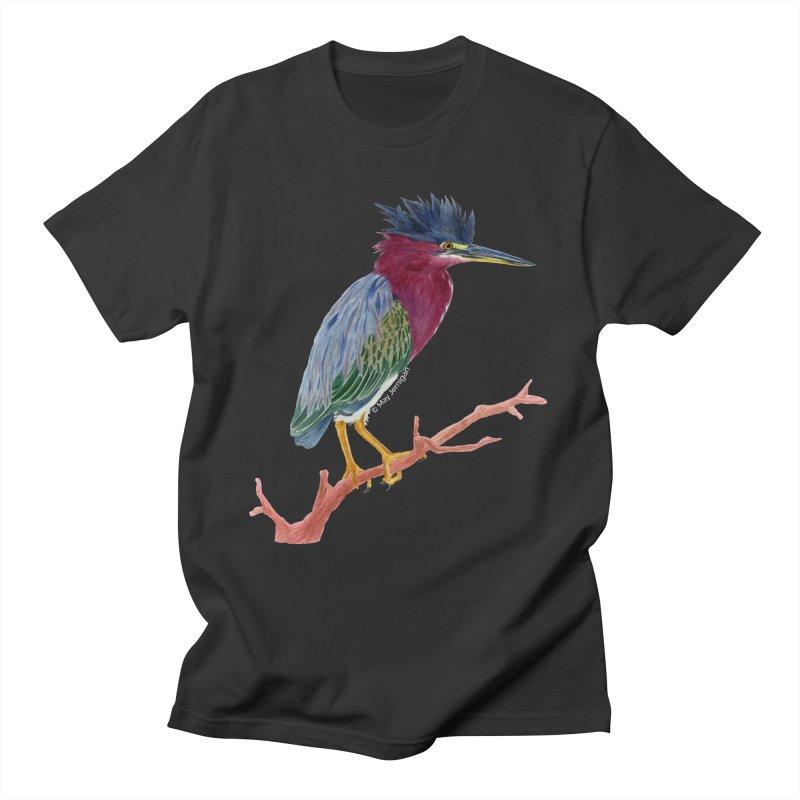 Green Heron Men's T-Shirt by May Jernigan's Artist Shop
