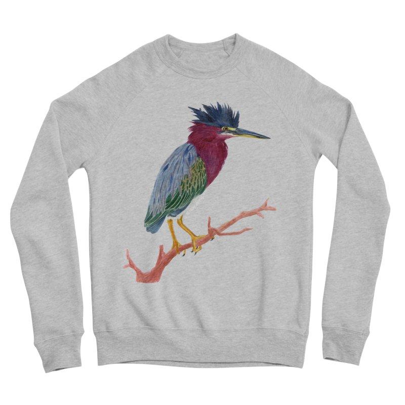 Green Heron Men's Sponge Fleece Sweatshirt by May Jernigan's Artist Shop