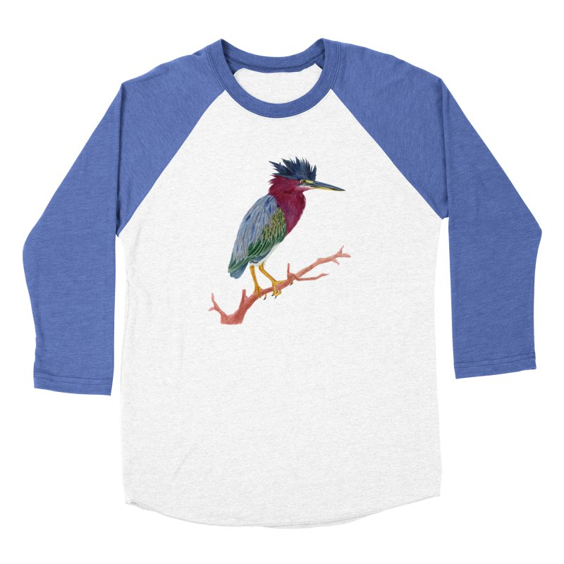 Green Heron Men's Baseball Triblend Longsleeve T-Shirt by May Jernigan's Artist Shop