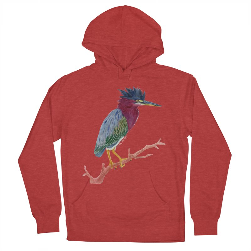 Green Heron Men's French Terry Pullover Hoody by May Jernigan's Artist Shop