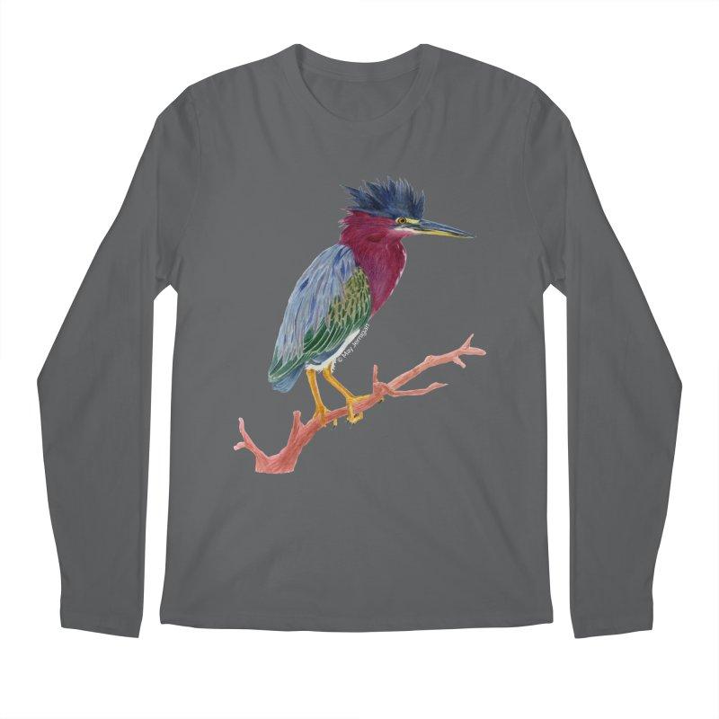 Green Heron Men's Regular Longsleeve T-Shirt by May Jernigan's Artist Shop