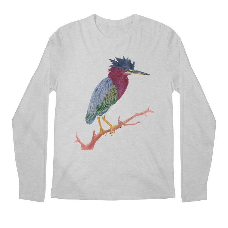 Green Heron Men's Longsleeve T-Shirt by May Jernigan's Artist Shop