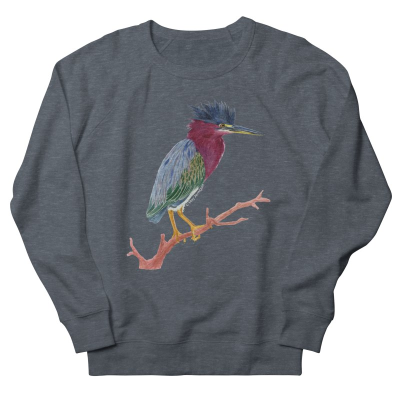 Green Heron Men's Sweatshirt by May Jernigan's Artist Shop