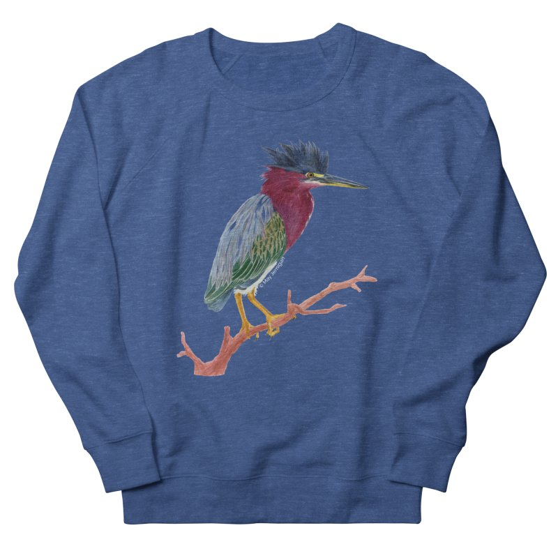 Green Heron Men's Sweatshirt by May Jernigan's Artist Shop