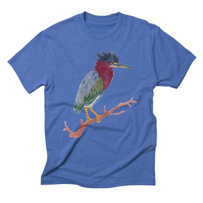 Green Heron Men's T-Shirt by May Jernigan's Artist Shop