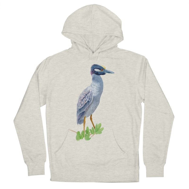 Yellow Crowned Night Heron Men's French Terry Pullover Hoody by May Jernigan's Artist Shop