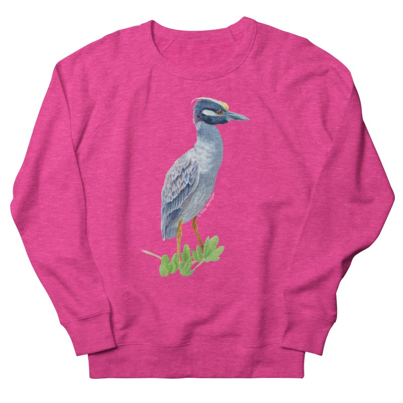 Yellow Crowned Night Heron Men's French Terry Sweatshirt by May Jernigan's Artist Shop