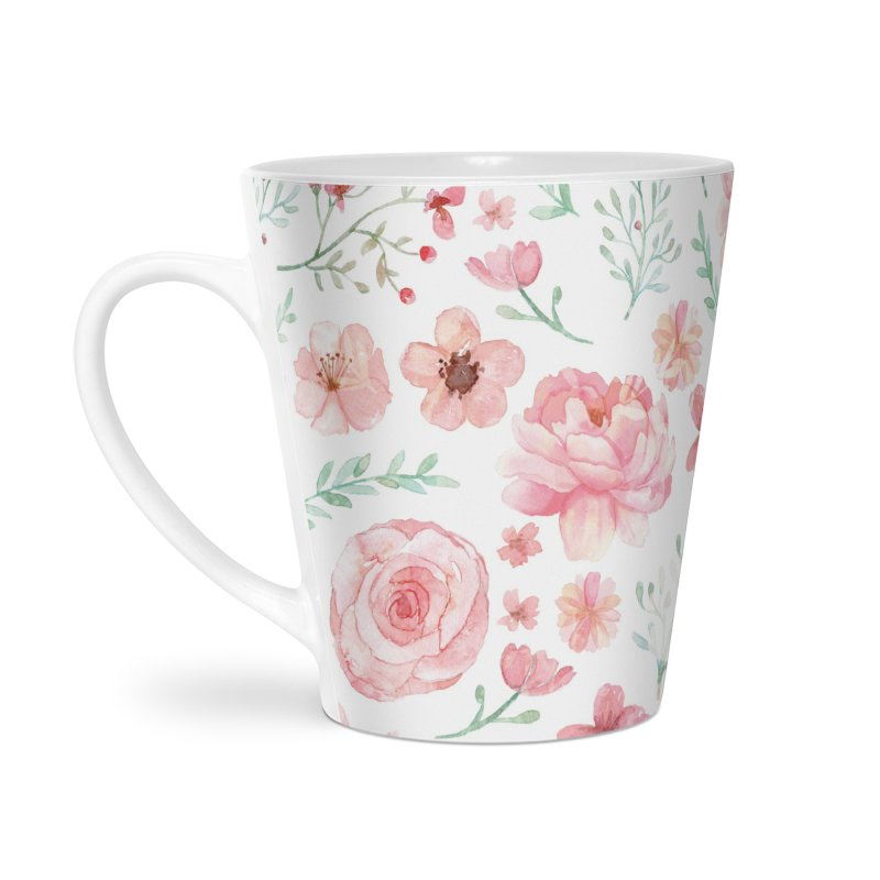 Pink'n White Sweety Florals Accessories Latte Mug by maymoriie's Artist Shop