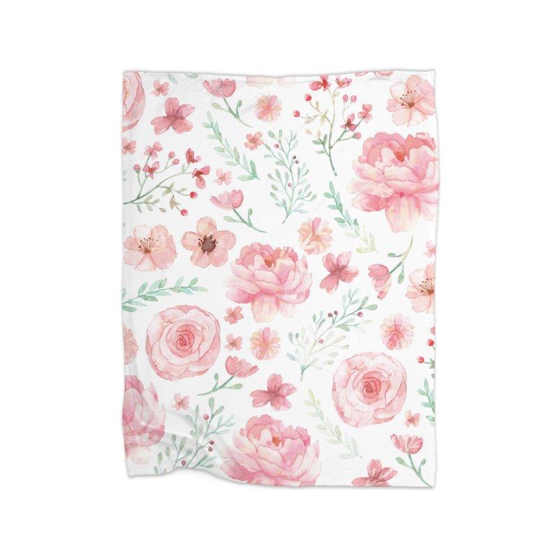 Pink'n White Sweety Florals Home Fleece Blanket Blanket by maymoriie's Artist Shop