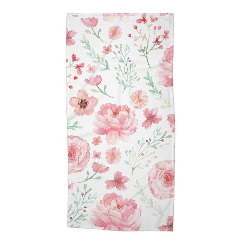 Pink'n White Sweety Florals Accessories Beach Towel by maymoriie's Artist Shop