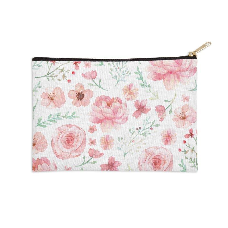 Pink'n White Sweety Florals Accessories Zip Pouch by maymoriie's Artist Shop