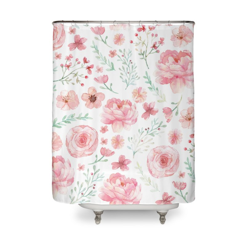 Pink'n White Sweety Florals Home Shower Curtain by maymoriie's Artist Shop