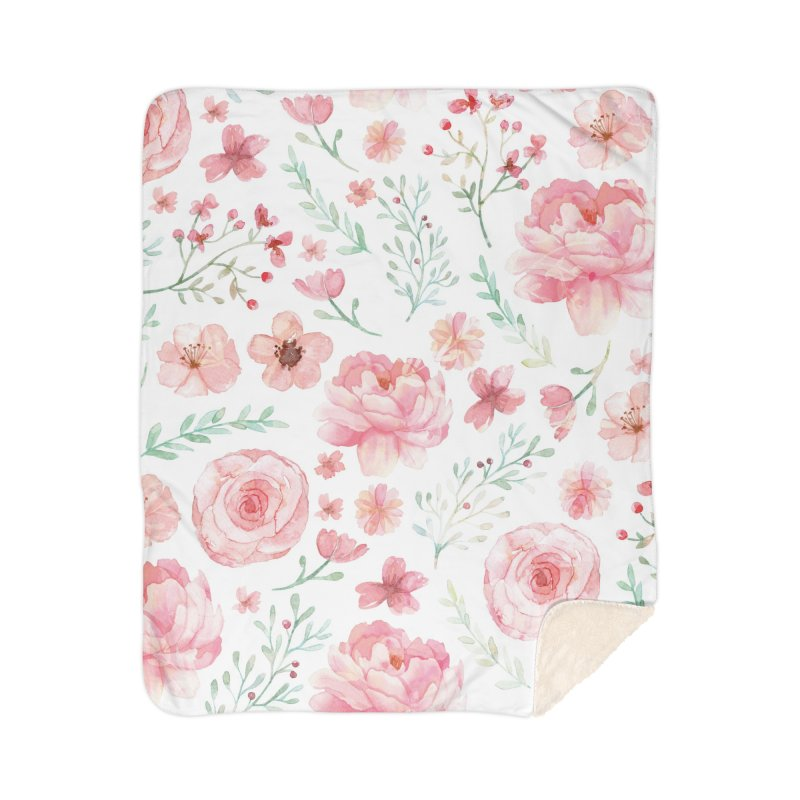 Pink'n White Sweety Florals Home Sherpa Blanket Blanket by maymoriie's Artist Shop