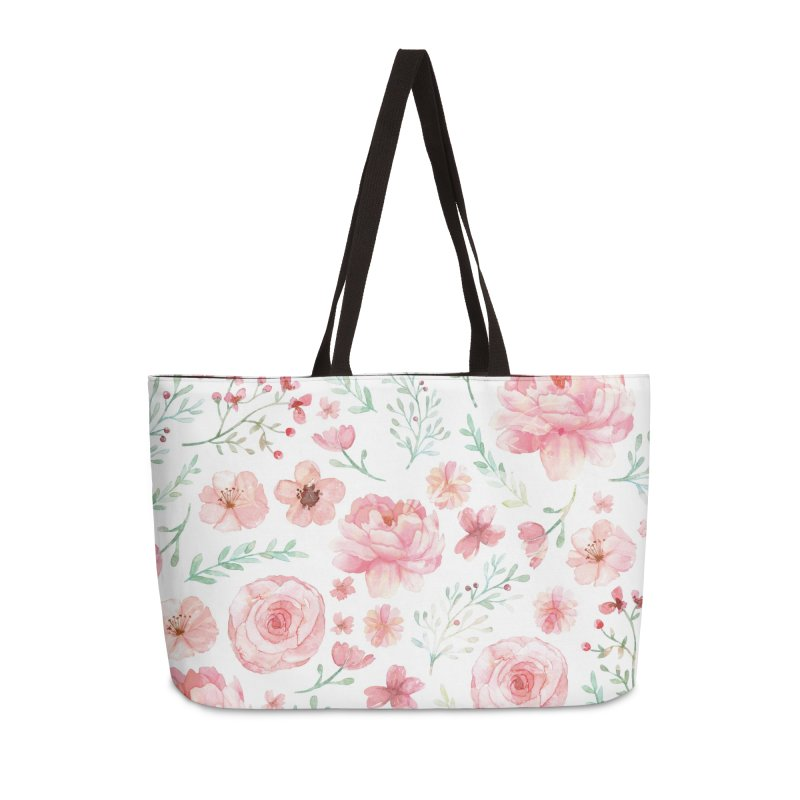 Pink'n White Sweety Florals Accessories Weekender Bag Bag by maymoriie's Artist Shop