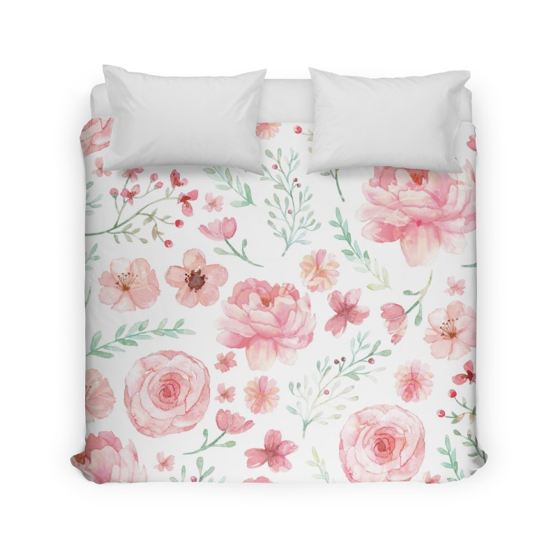 Pink'n White Sweety Florals Home Duvet by maymoriie's Artist Shop