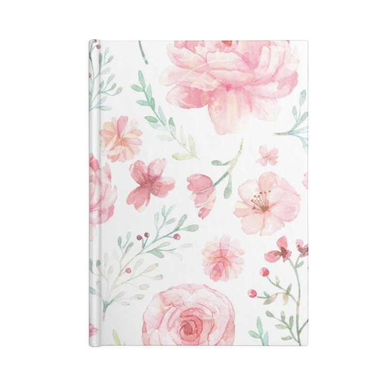 Pink'n White Sweety Florals Accessories Blank Journal Notebook by maymoriie's Artist Shop