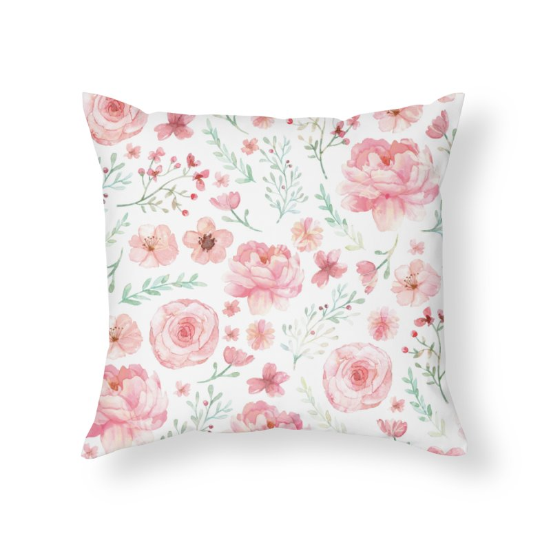 Pink'n White Sweety Florals Home Throw Pillow by maymoriie's Artist Shop