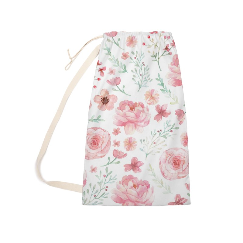 Pink'n White Sweety Florals Accessories Laundry Bag Bag by maymoriie's Artist Shop