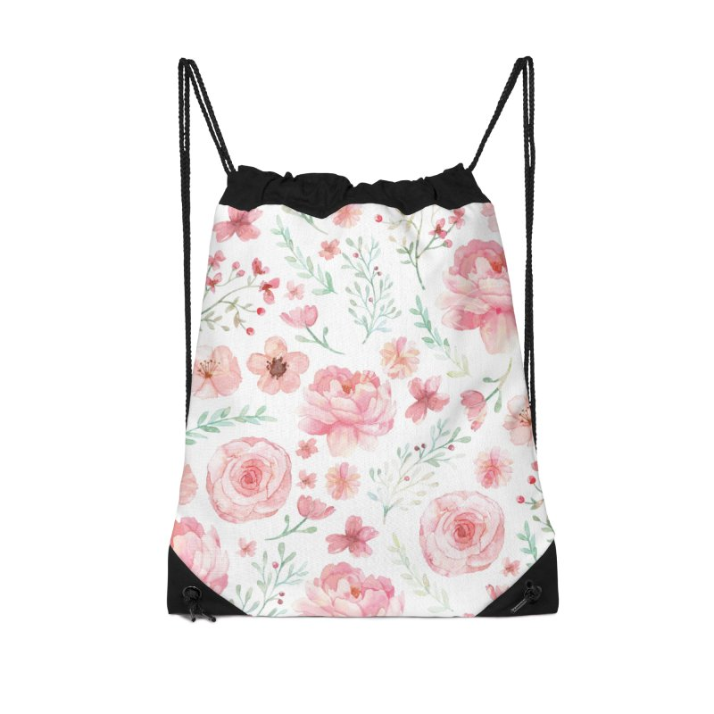 Pink'n White Sweety Florals Accessories Drawstring Bag Bag by maymoriie's Artist Shop