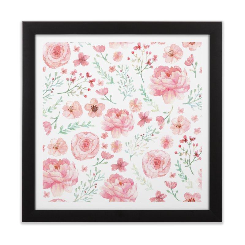 Pink'n White Sweety Florals Home Framed Fine Art Print by maymoriie's Artist Shop