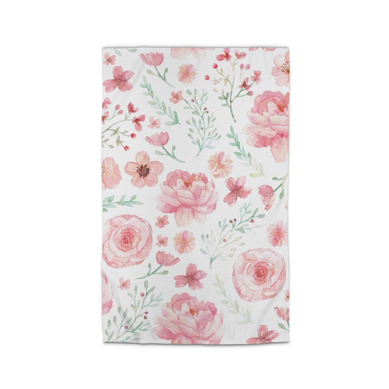 Pink'n White Sweety Florals Home Rug by maymoriie's Artist Shop