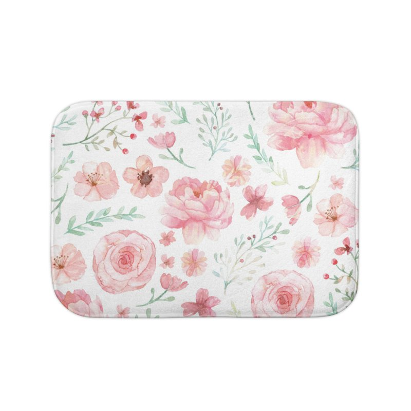 Pink'n White Sweety Florals Home Bath Mat by maymoriie's Artist Shop