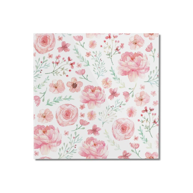 Pink'n White Sweety Florals Home Mounted Acrylic Print by maymoriie's Artist Shop
