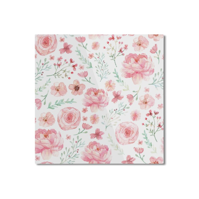 Pink'n White Sweety Florals Home Mounted Aluminum Print by maymoriie's Artist Shop