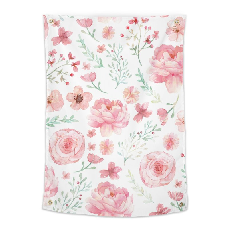 Pink'n White Sweety Florals Home Tapestry by maymoriie's Artist Shop