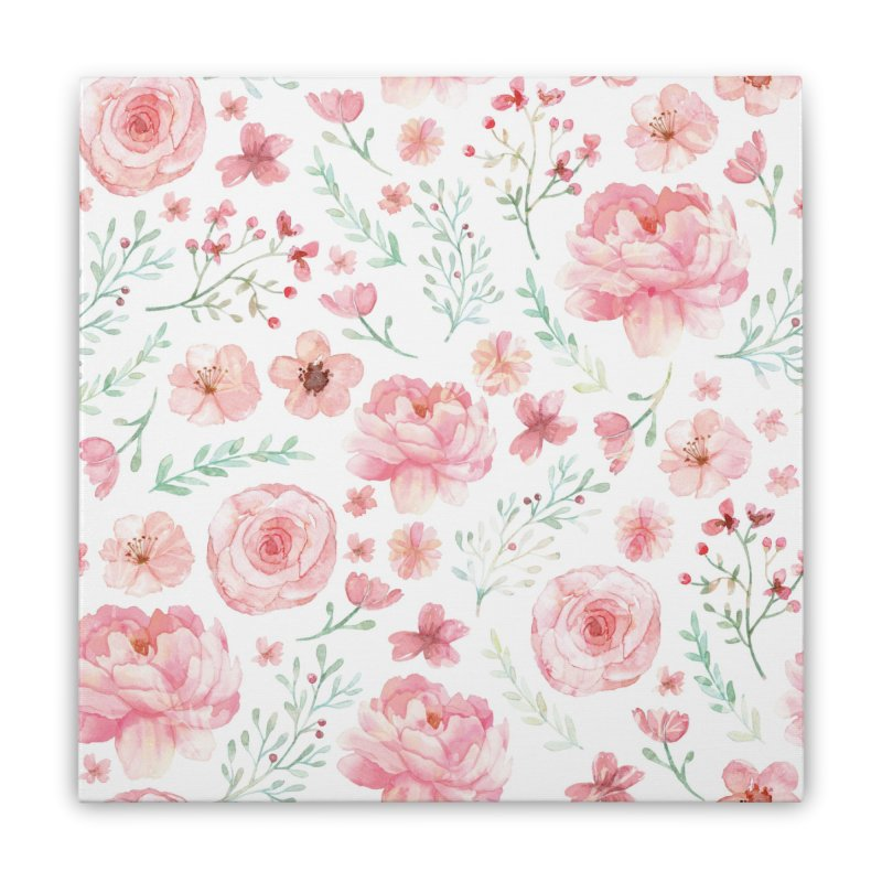 Pink'n White Sweety Florals Home Stretched Canvas by maymoriie's Artist Shop