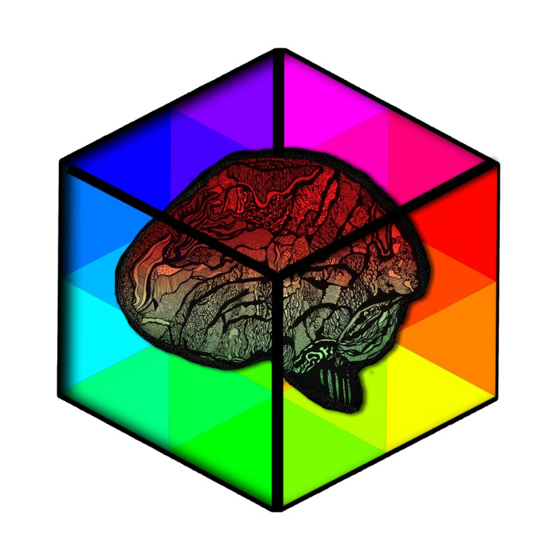 Brain Cube on Color Women's T-Shirt by MCGILSKY DESIGN SHOP