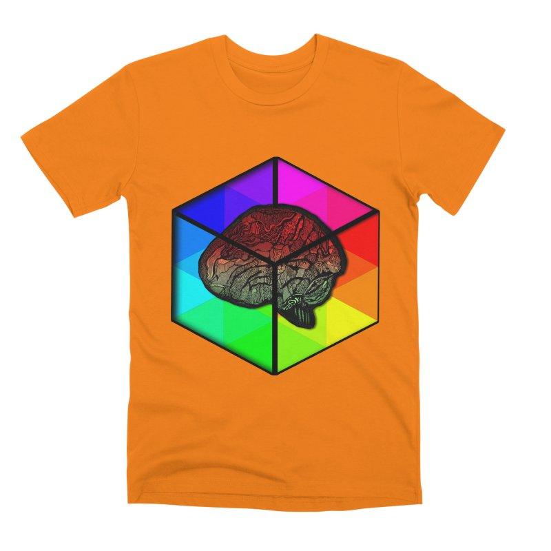 Brain Cube on Color Men's T-Shirt by MCGILSKY DESIGN SHOP